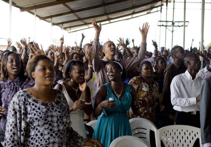 Worshippers at church service Bujumbura Burundi